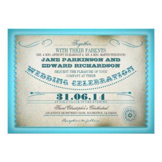 turquoise vintage wedding invitations - tickets
