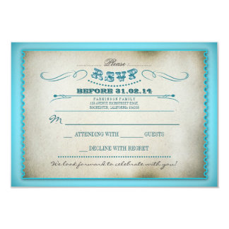 turquoise vintage wedding RSVP cards - tickets