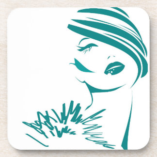 Turquoise Vintage Woman Face Coaster