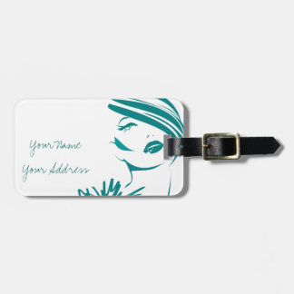 Turquoise Vintage Woman Face Luggage Tag