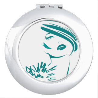Turquoise Vintage Woman Face Makeup Mirror