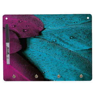 Turquoise Violet Feather Dry Erase Board With Keychain Holder