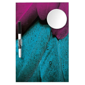 Turquoise Violet Feather Dry Erase Board With Mirror