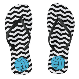 Turquoise Volleyball Chevron Flip Flops
