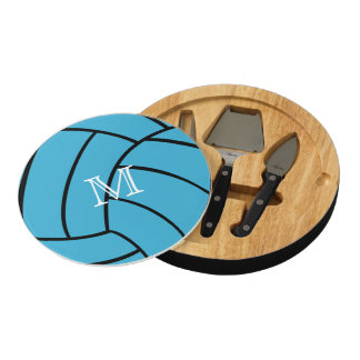 Turquoise Volleyball Monogram Cheese Board