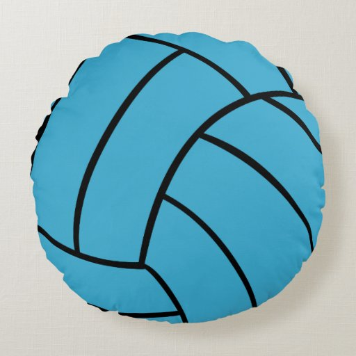 Turquoise Volleyball Round Throw Pillow Zazzle