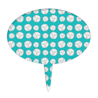 Turquoise volleyballs pattern cake topper