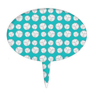 Turquoise volleyballs pattern cake picks