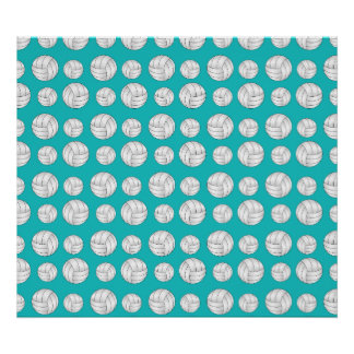 Turquoise volleyballs pattern posters