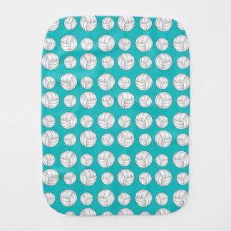 Turquoise volleyballs pattern burp cloths