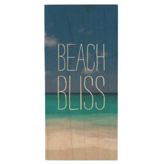 Turquoise Water Beach Bliss Wood Flash Drive