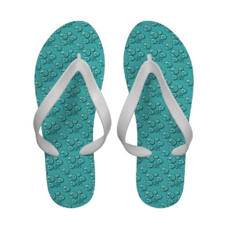 Turquoise Water Drops Pattern Flip Flops