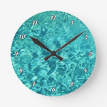 Turquoise Water Round Clock at Zazzle