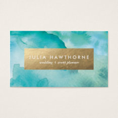 Turquoise Watercolor And Gold Faux Foil Business Card at Zazzle
