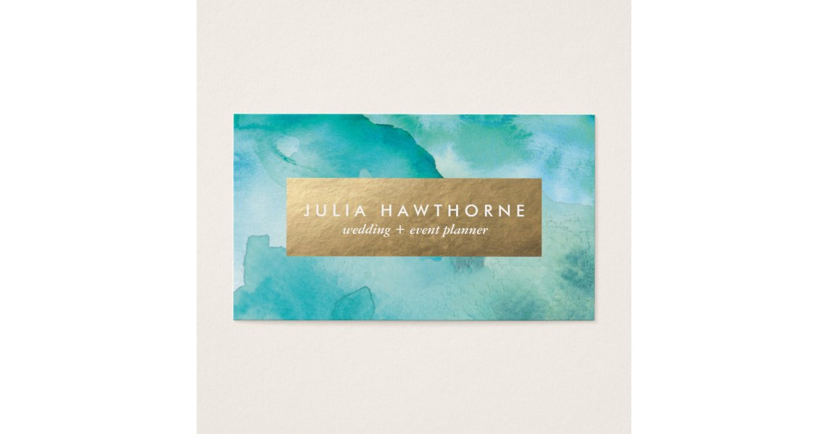 Turquoise Watercolor and Gold Faux Foil Business Card | Zazzle.com