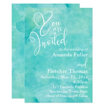 Turquoise Watercolor Elegant Typography Wedding 1 Card