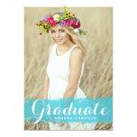 "Turquoise Watercolor Graduation Party Invitation 5"" X 7"" Invitation Card"