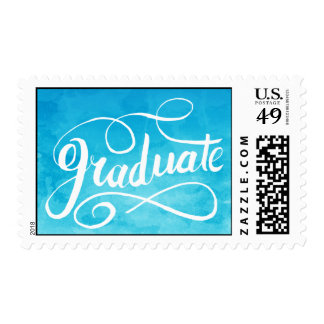 Turquoise Watercolor Graduation Postage Stamp