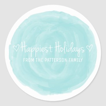 Beach Themed Turquoise Watercolor Happiest Holidays Classic Round Sticker