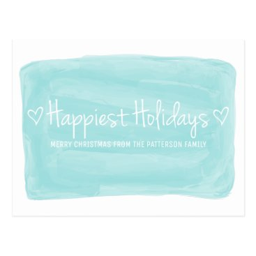 Beach Themed Turquoise Watercolor Happiest Holidays Postcard