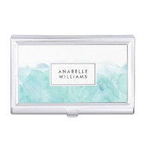 Turquoise Watercolor Modern Case For Business Cards