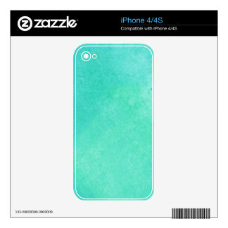 Turquoise Watercolor Skins For iPhone 4S
