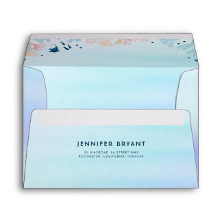 Turquoise Watercolor Under the Sea Beach Shower Envelope