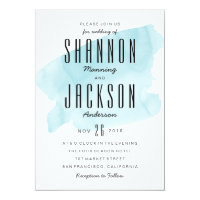 Turquoise Watercolor Wash Wedding Invitation