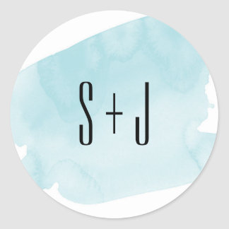 Turquoise Watercolor Wash Wedding Sticker