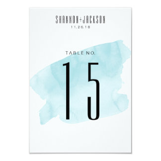 Turquoise Watercolor Wash Wedding Table Numbers