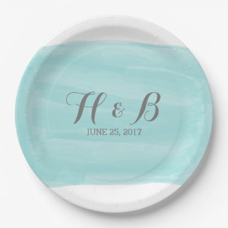 Turquoise Watercolor Wedding Paper Plates 9 Inch Paper Plate