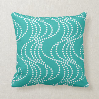 Turquoise Wave Pattern Pillow