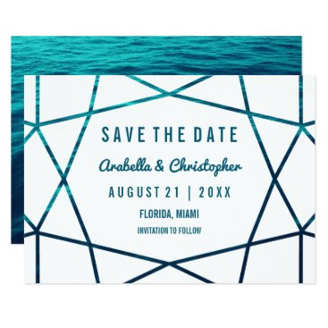 Beach Themed Turquoise Waves Geometric Save the Date Card