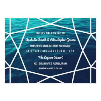 Turquoise Waves Geometric Wedding Invitation