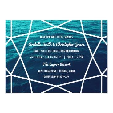 Beach Themed Turquoise Waves Geometric Wedding Invitation