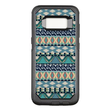 Aztec Themed Turquoise Waves Tribal Pattern with Blue and Pink OtterBox Commuter Samsung Galaxy S8 Case