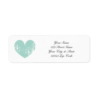 Turquoise weathered heart return address labels