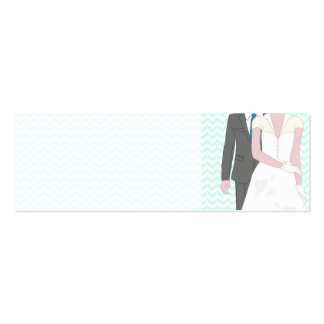Turquoise Wedding Bride and Groom Place Name Double-Sided Mini Business Cards (Pack Of 20)