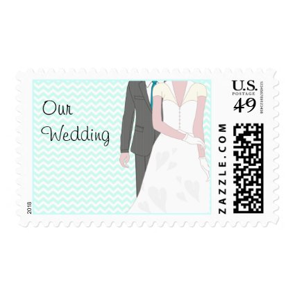 Turquoise Wedding Bride and Groom Postage Stamp