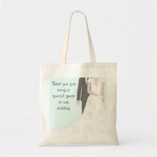 Turquoise Wedding Bride and Groom Tote Bag