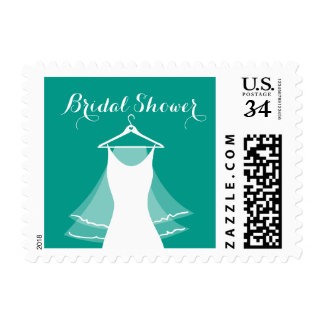 Turquoise wedding dress veil bridal shower stamps
