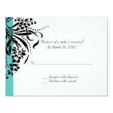 Turquoise Wedding Invitation RSVP Cards