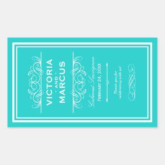 Turquoise Wedding Wine Bottle Monogram Favor Rectangular Sticker