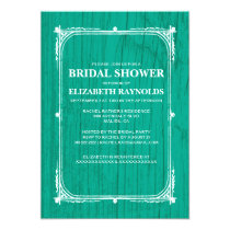 Turquoise Western Barn Wood Bridal Shower Invites