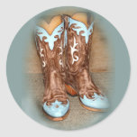 Turquoise Western Boots Round Stickers