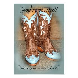 Turquoise Western Boots Wedding Invitation