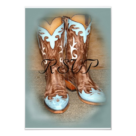 Turquoise Western Boots  Wedding RSVP Card