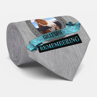 Turquoise Western Themed Horse Memorial Custom Neck Tie