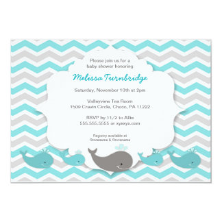 Turquoise whales baby shower birthday party invite