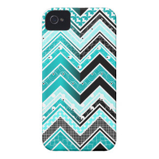 Turquoise, White and black Chevron pattern iPhone 4 Covers